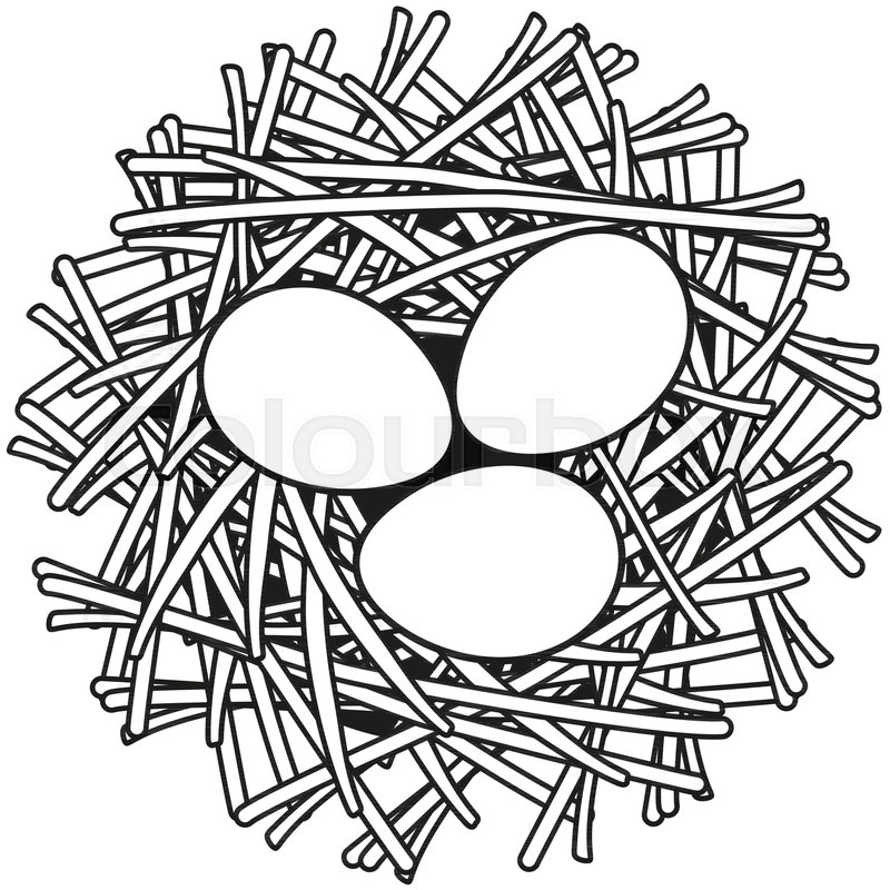 Line Art Black And White Egg Nest Icon Poster Coloring