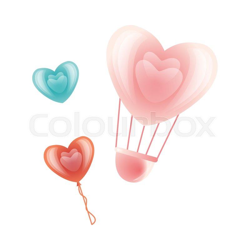 Vector Happy Valentines Day Heart Symbols Icon Set Hot Air Balloon