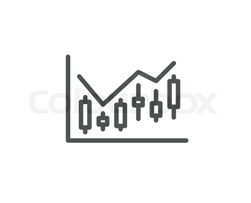 Candlestick Chart Line Icon Financial Graph Sign Stock Exchange