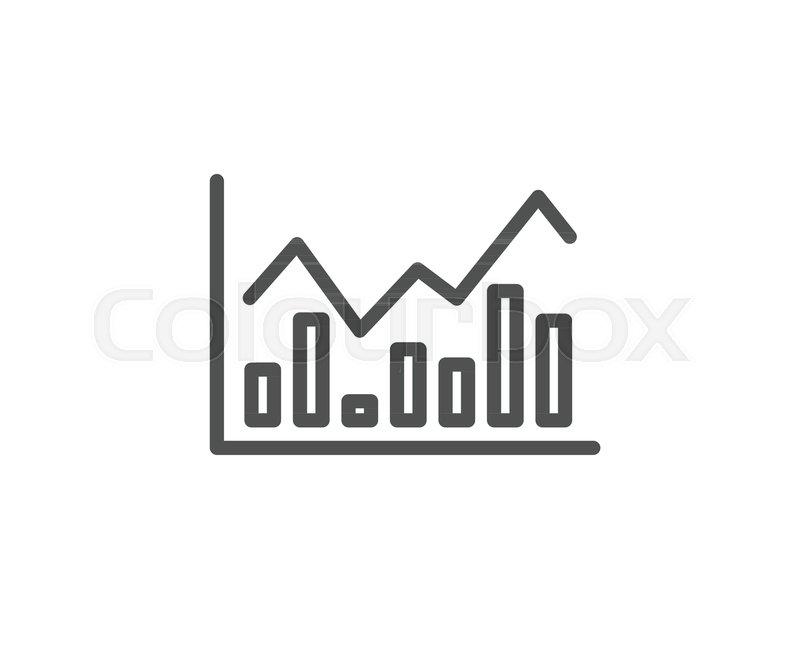 Financial Chart Line Icon Economic Graph Sign Stock Exchange