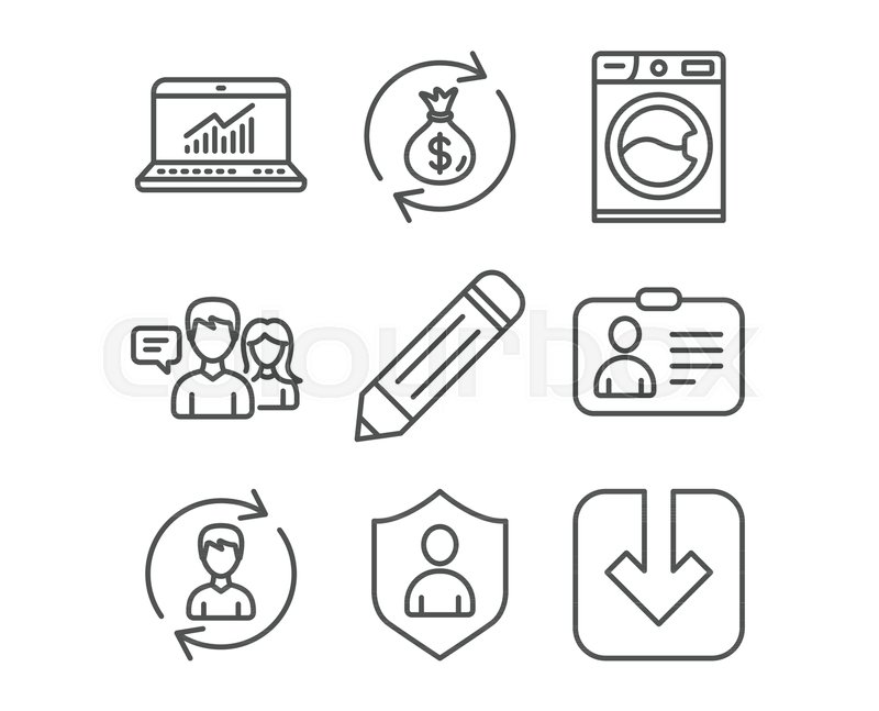 Set Of Washing Machine Security And Online Statistics Icons Id