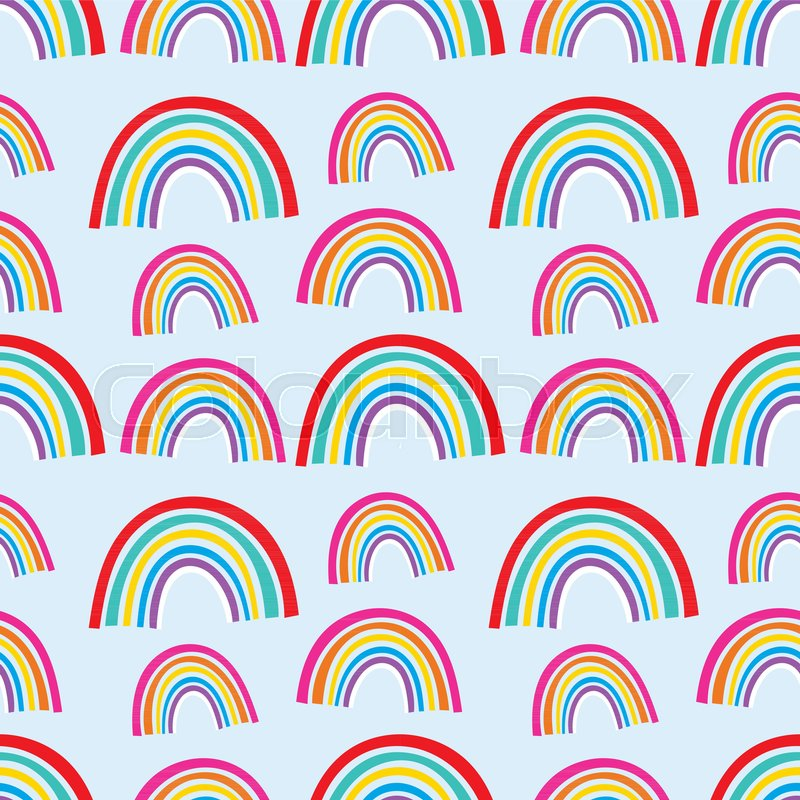Vector Rainbow Pattern Design Hand Drawn Lovely Cute Contemporary Gorgeous Rainbow Pattern