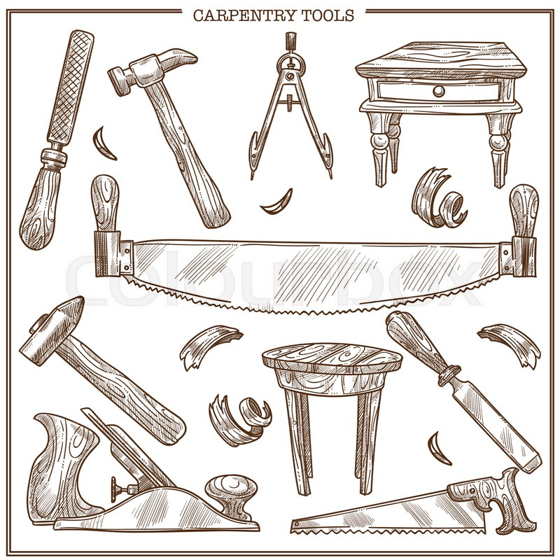 Carpentry Tools Sketch Icons Set For Furniture Repair Vector Isolated Of Woodwork Plane Grinder Or Saw And Hammer With Nails Wood Shavings Chisel