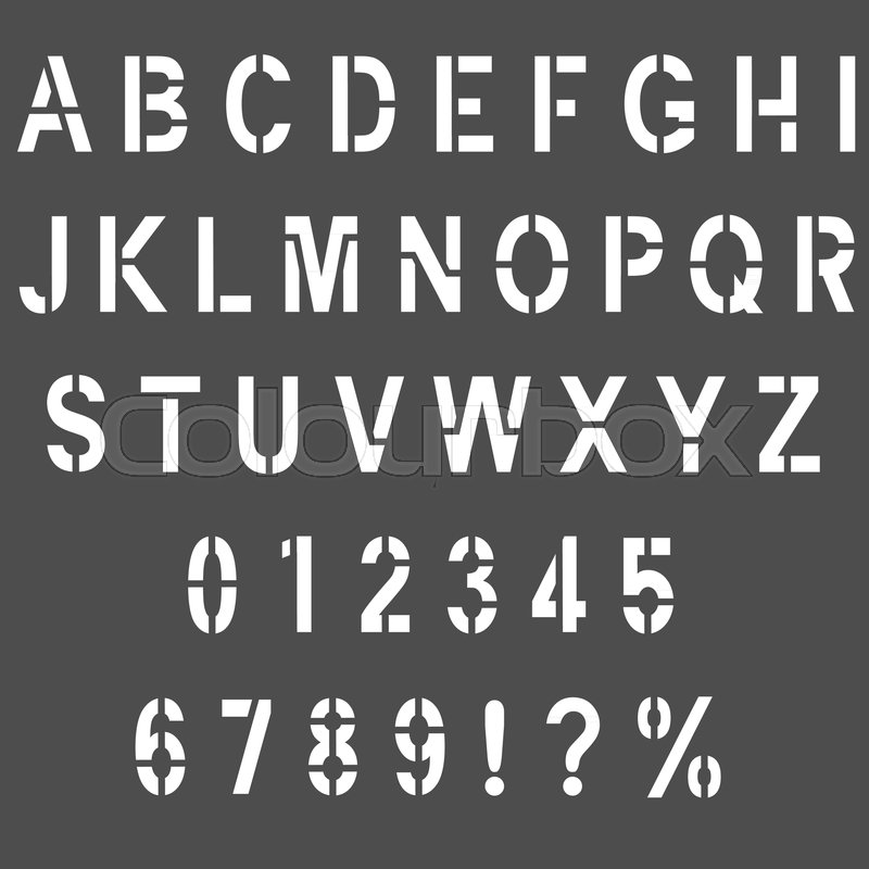 set of army alphabet font stencil type letters and numbers stock