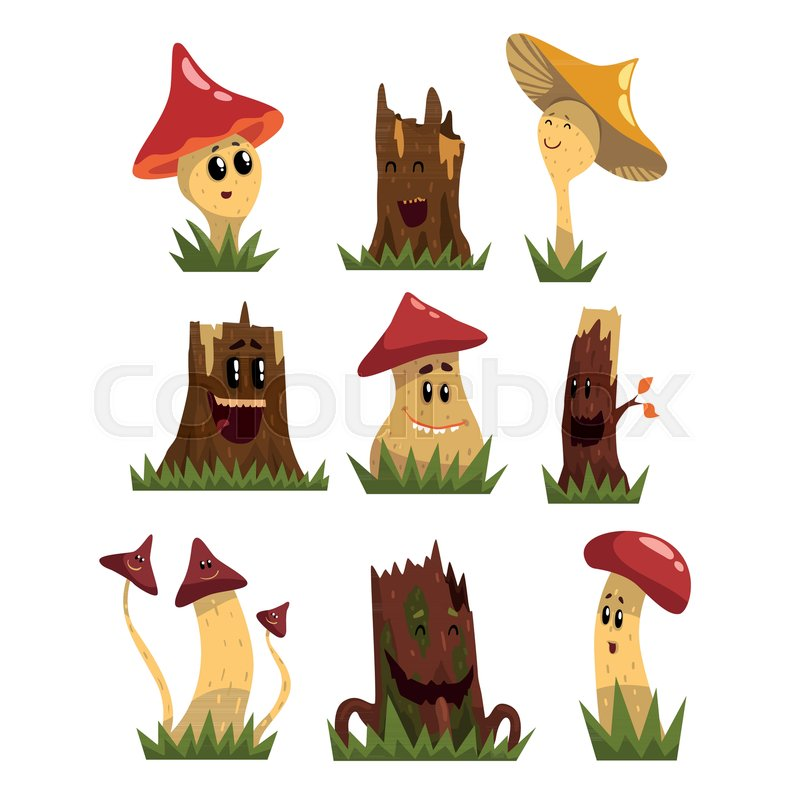 Funny Mushrooms Characters Set Cute Humanized Forest