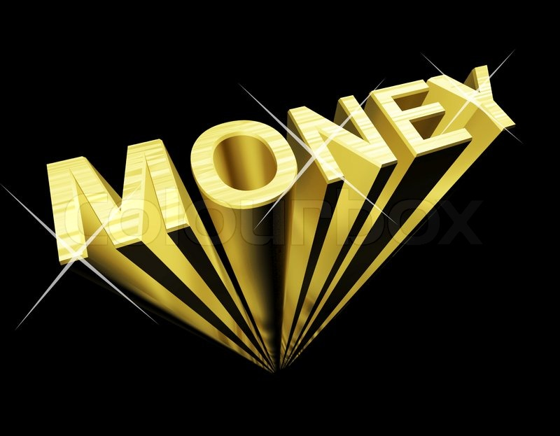 Money Text In Gold And 3d As Symbol For Wealth And Finance Stock