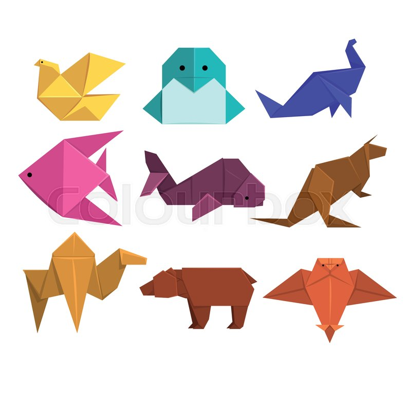 Animals Origami Set Animals And Birds Made Of Paper In Origami