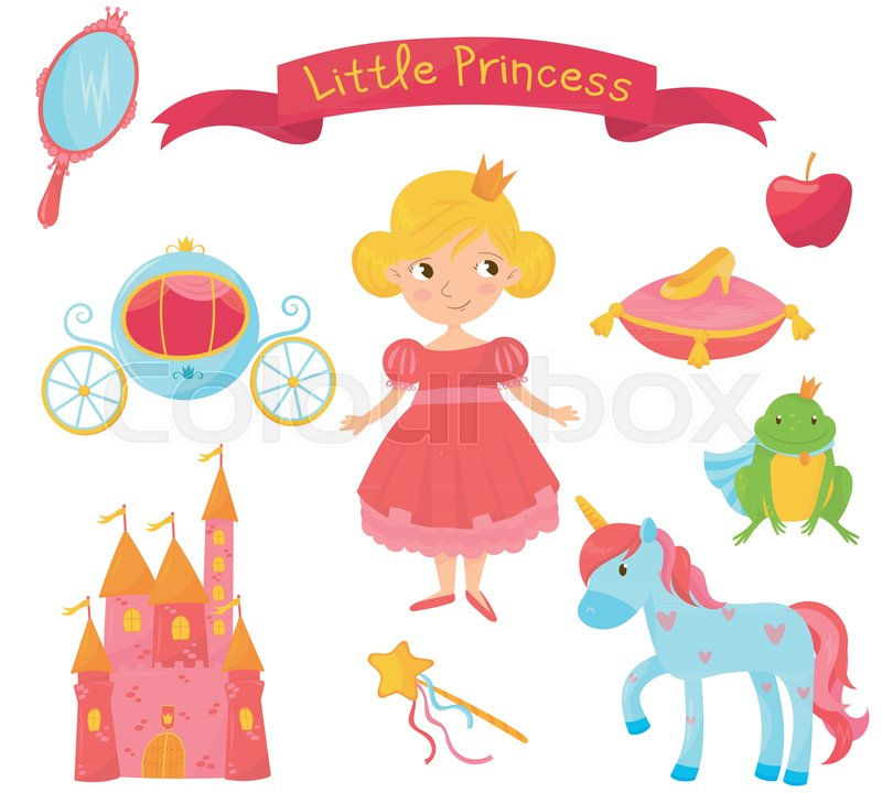 Collection Of Princess Items Girl In Dress Handle Mirror