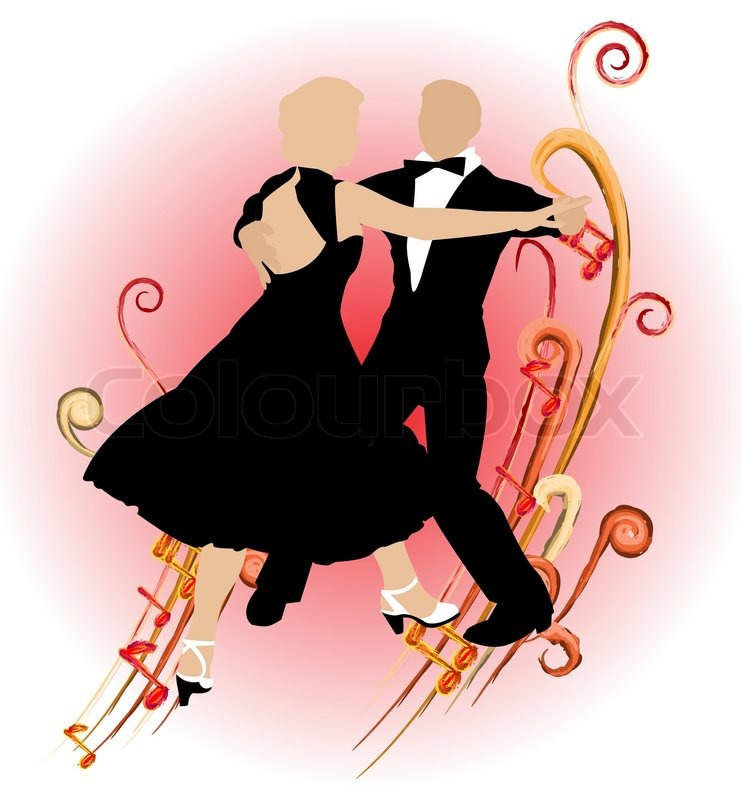 Stock vector of 'Silhouette dancing couple on abstract background of ...