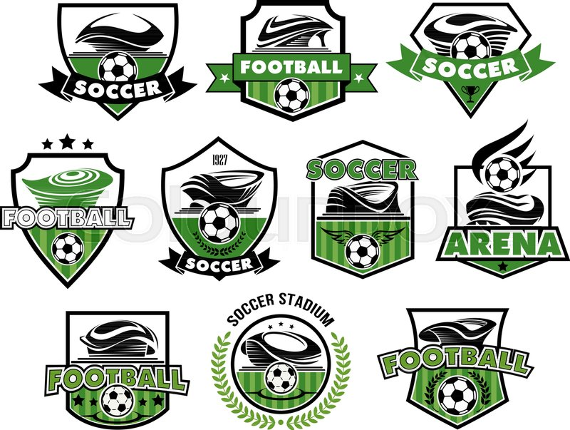 Soccer Club Or Football College League Team Icons Or Badges
