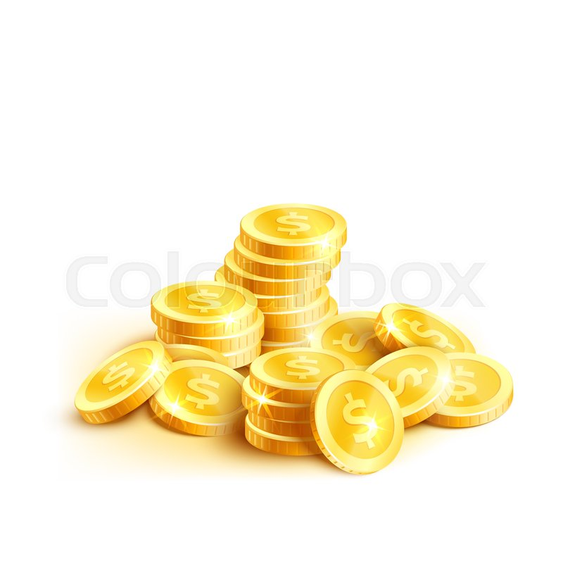 Golden Coins Or Gold Cent Coin Pile Icon Vector Isolated Symbol Of