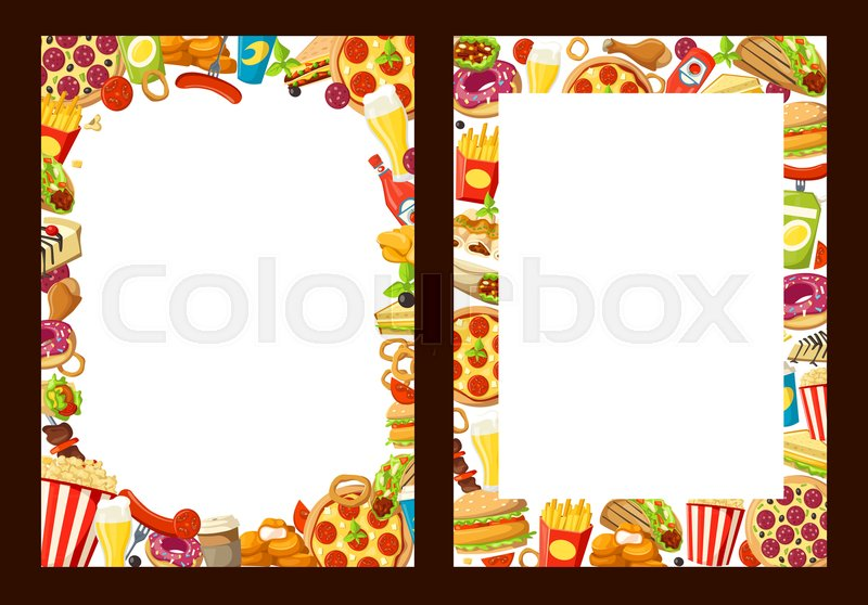 Fast Food Menu Design Template With Blank Space And Frame Of Fastfood Burgers Sandwiches Vector Cafe Or Restaurant Cheeseburger