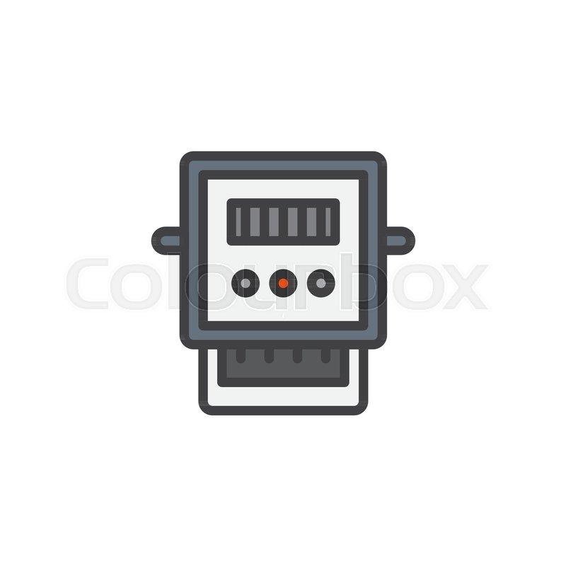Electric voltage gauge filled outline icon, line vector sign, linear ...
