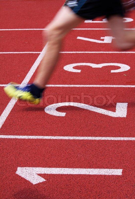 Athletics Running Goal Metaphor Stop Sprint Feet Speed Shoes