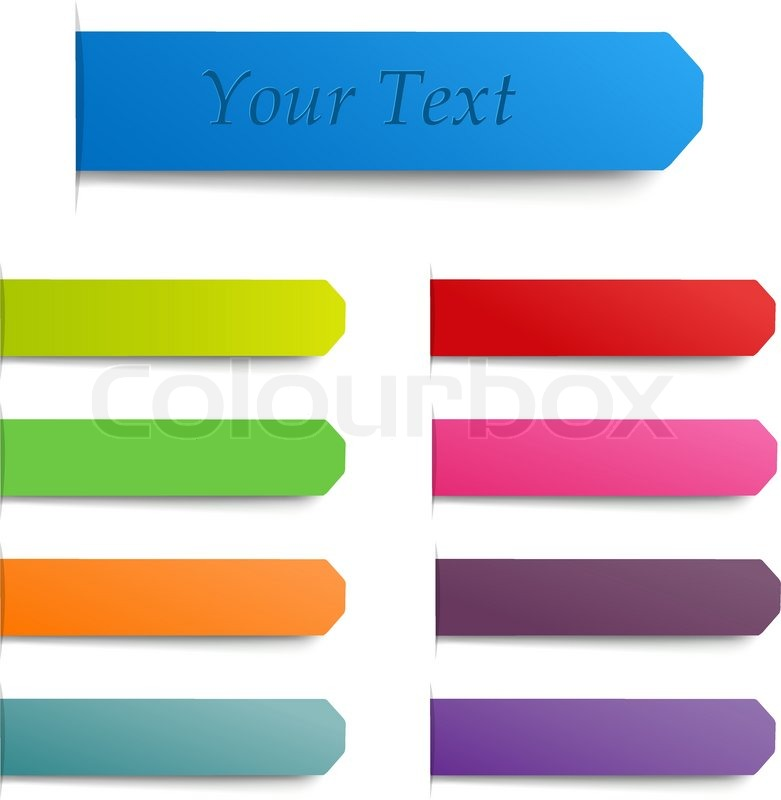 9 color stickers isolated on white background vector illustration