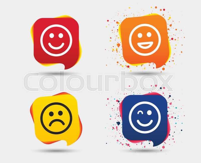 Smile Icons Happy Sad And Wink Faces Symbol Laughing Lol Smiley