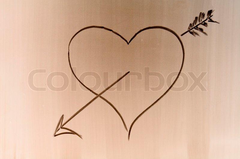 Someone Draw Shaded Love Symbol On School Desk Stock Photo Colourbox