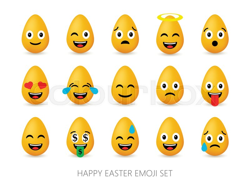Easter Eggs Emoji Set Cute Funny Emotional Icons Happy Emoticons