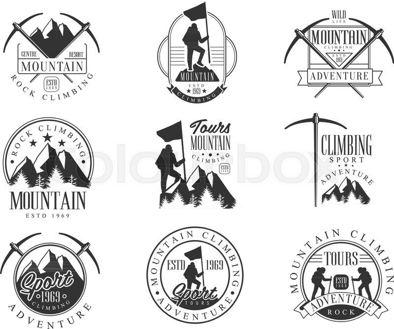 Mountain Climbing Extreme Adventure Tour Black And White Sign Design