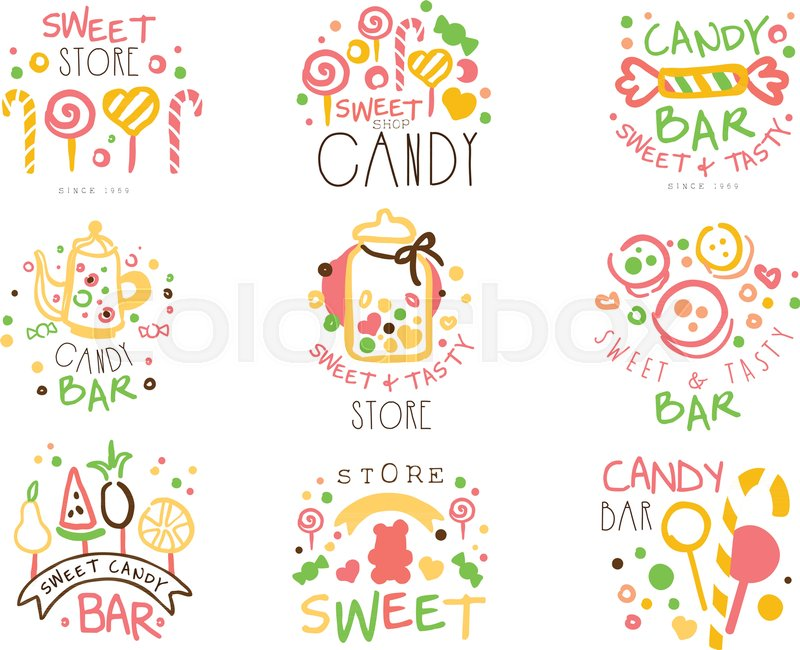 Candy Shop Promo Signs Set Of Colorful Vector Design Templates With Sweets And Pastry Silhouettes Sweet Bar For Kids Labels In Flat Bright Illustrations