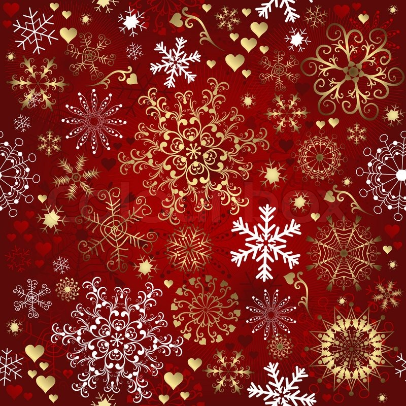Christmas Red Seamless Pattern With Gold And White