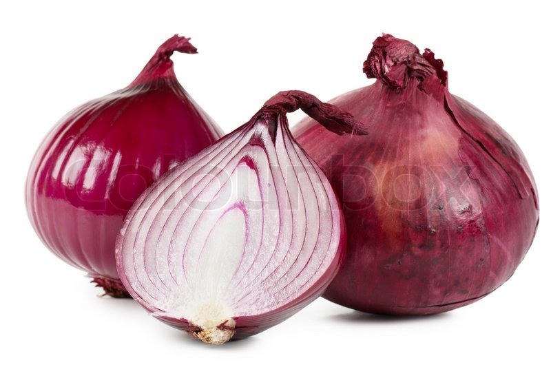 Red Onions Over White Background Stock Photo Colourbox