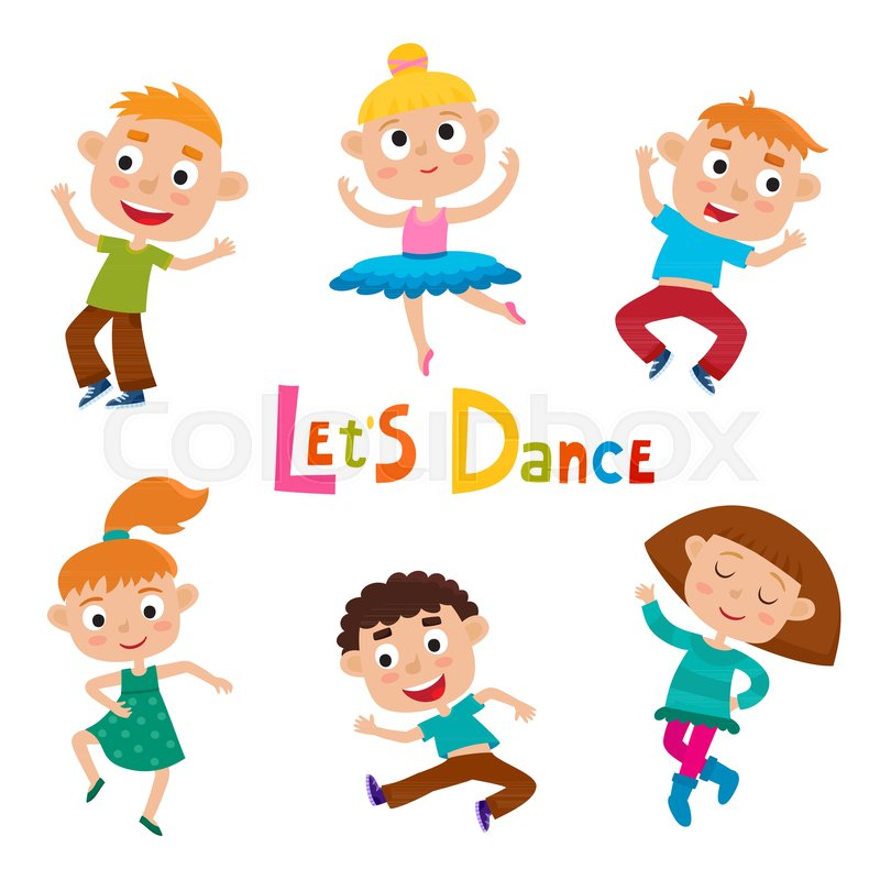 Stock vector of 'Vector cartoon illustration of little graceful girls-dancer and happy hipster boys isolated on white. Set of little happy kids dancing and smiling. Modern dance, ballet performed by children.'
