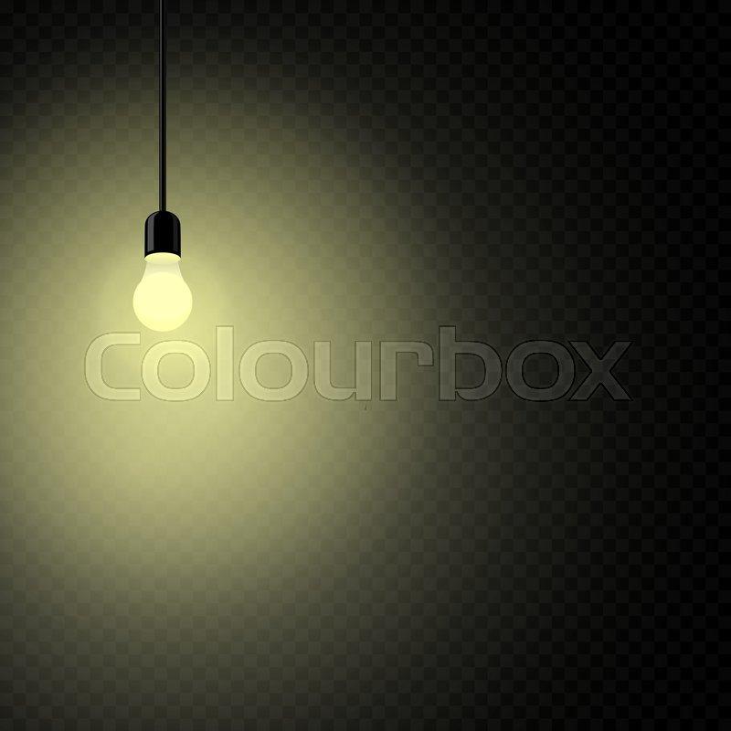 Retro Electrici Light Bulb In Dark Stock Vector