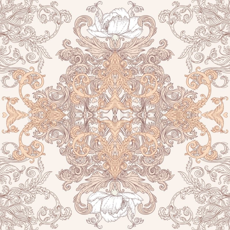 Vintage vector background for textile design wallpaper for Baroque style wallpaper
