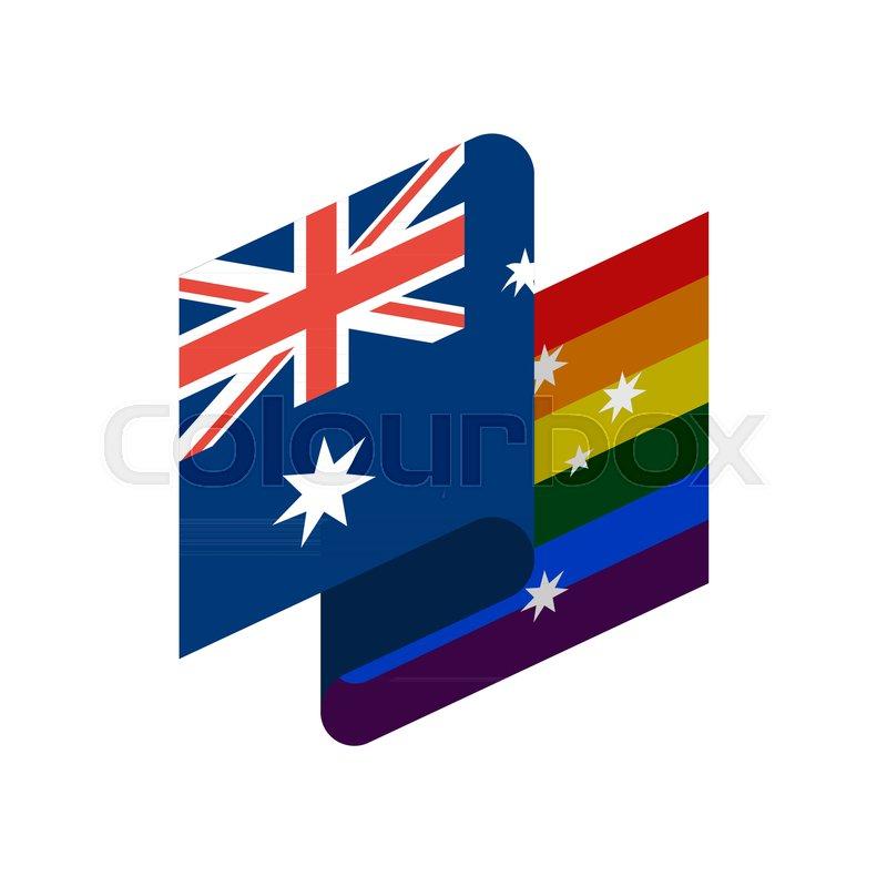Australia Lgbt Flag Australian Symbol Of Tolerant Gay Sign Rainbow