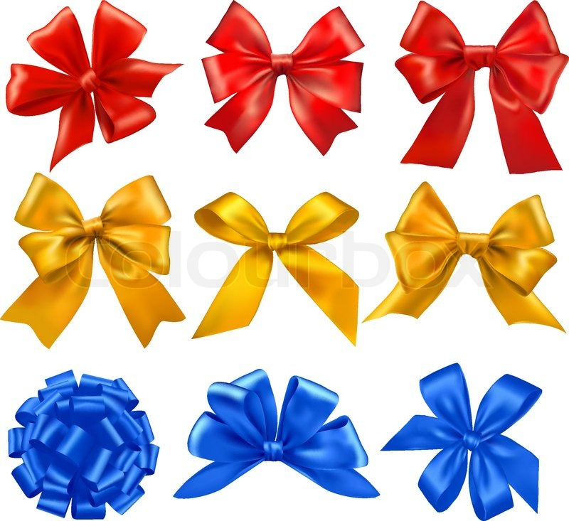 Set of colorful gift bows with ribbons vector stock vector set of colorful gift bows with ribbons vector vector negle Images