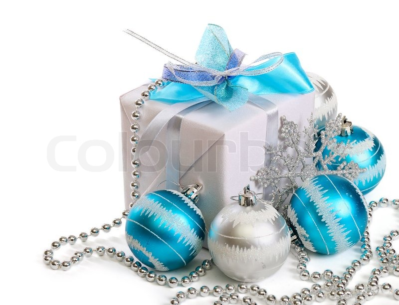 gift box with christmas decorations on white background stock photo colourbox