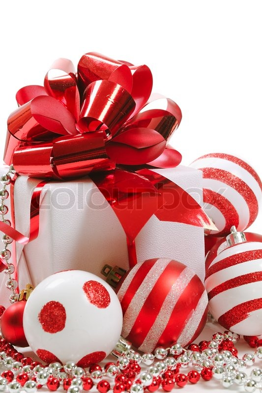 Gift Box Christmas Decorations Prepossessing Gift Box With Christmas Decorations On White Background  Stock Design Inspiration