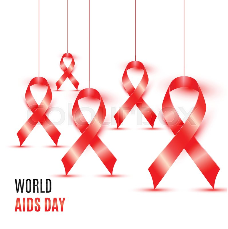World Aids Day With Symbol Red Ribbons Stock Vector Colourbox
