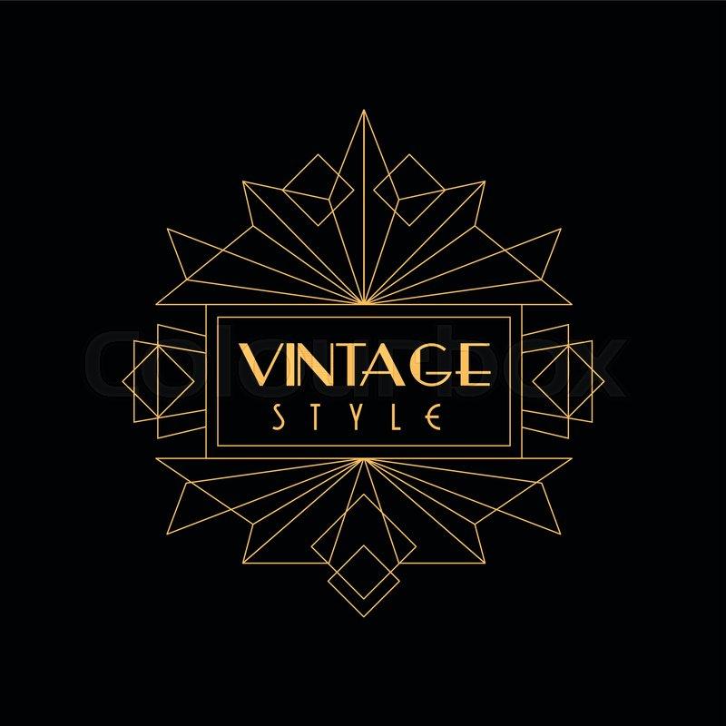 Vintage Style Logo Art Deco Design Stock Vector
