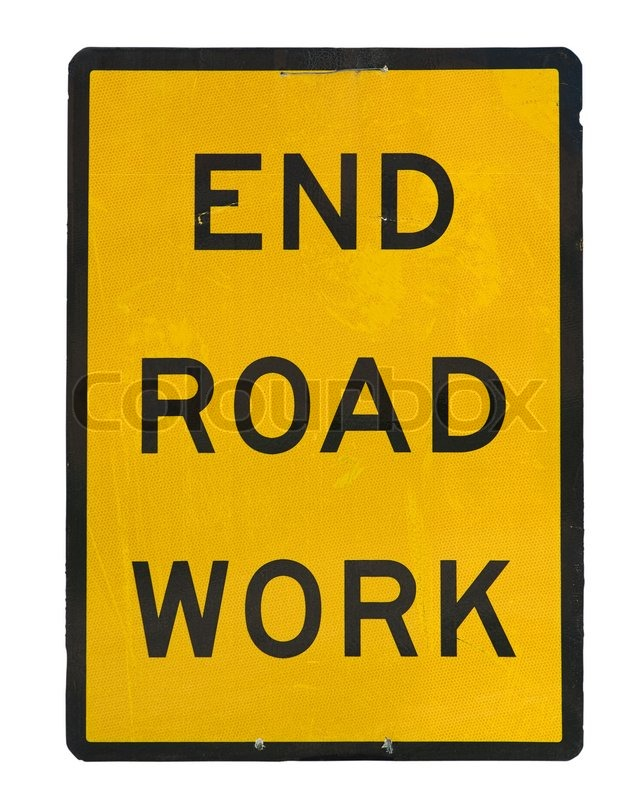 Stock image of 'Old end roadwork traffic sign isolated on white background'
