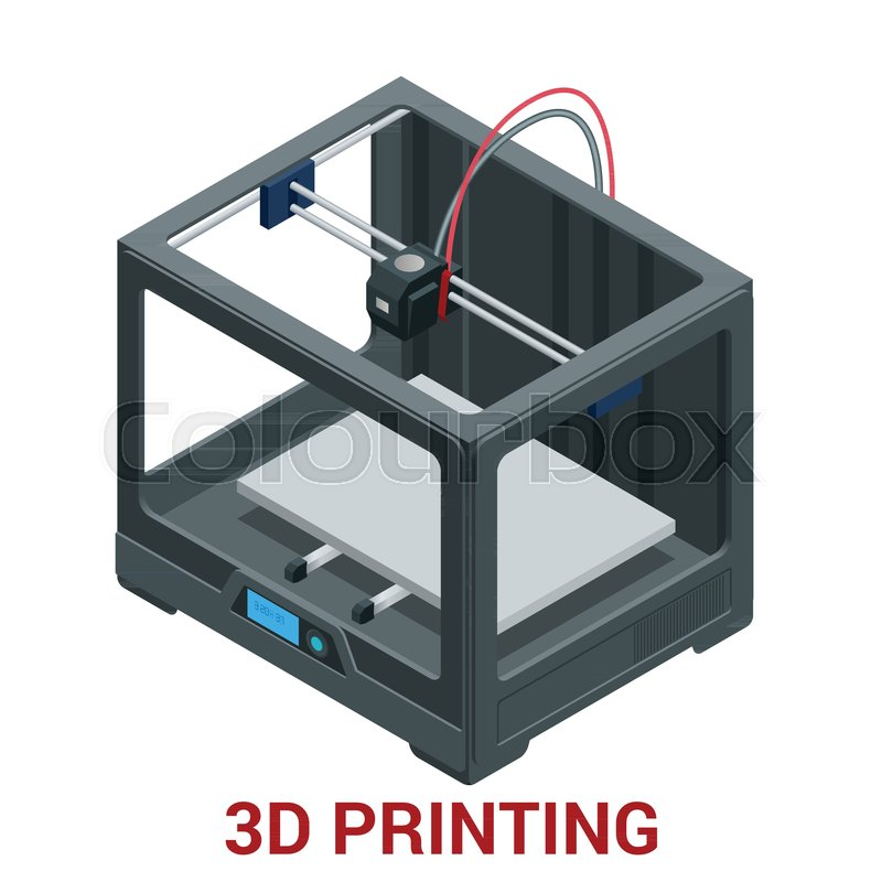 New generation of 3D Printing Machine       Stock vector