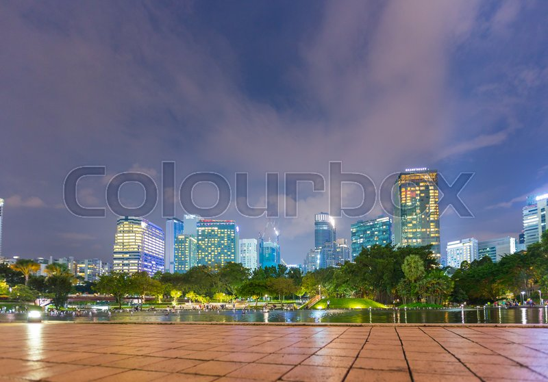 Kuala Lumpur, Malaysia-JANUARY 16,2017: Garden and river in the city at night. Garden view point around the city, stock photo