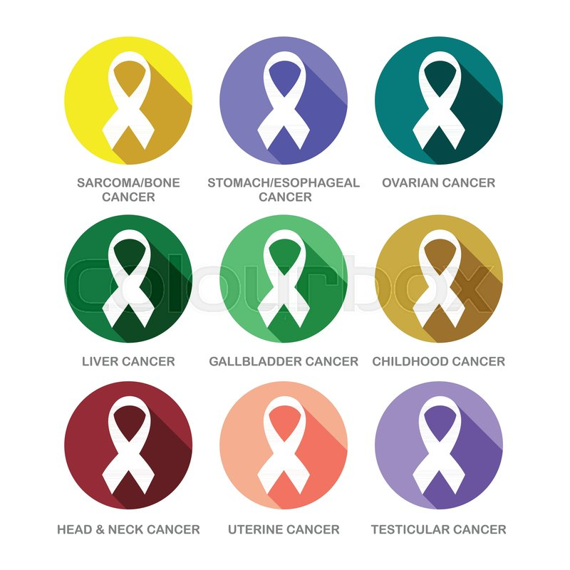 Various Cancer Awareness Ribbon Symbols Icon Set Vector Graphic