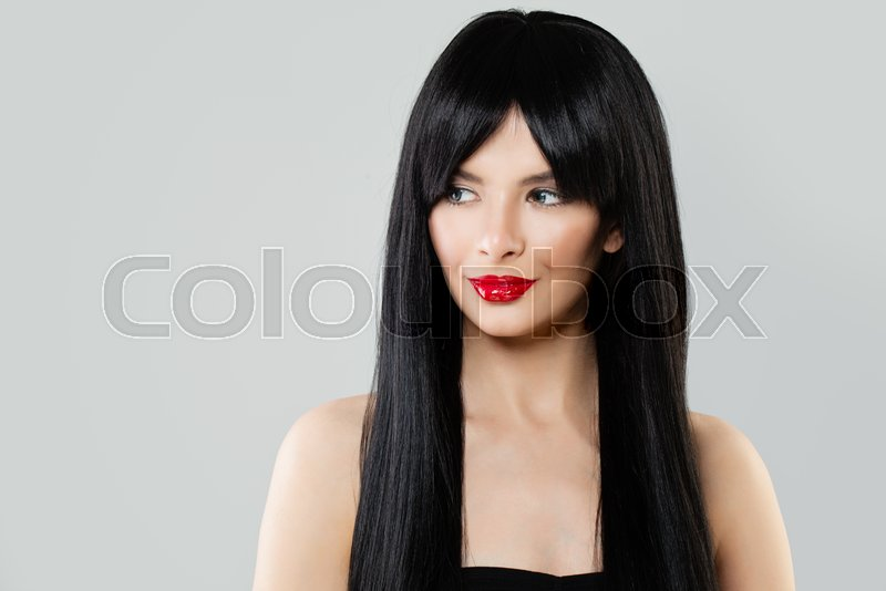 Cute Woman With Beautiful Healthy Hair Stock Image Colourbox