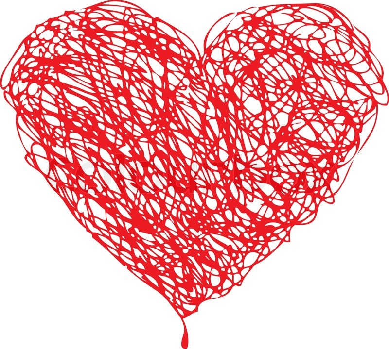 Red heart scribble with lines texture on white background. Element ...
