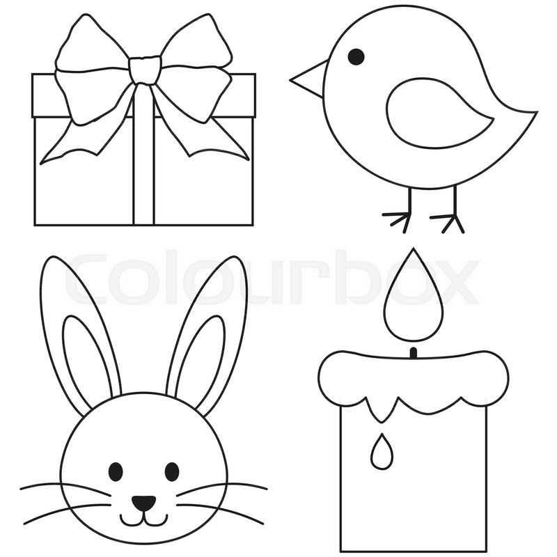 Line Art Black And White Easter Icon Set Chicken Chick Bunny Face