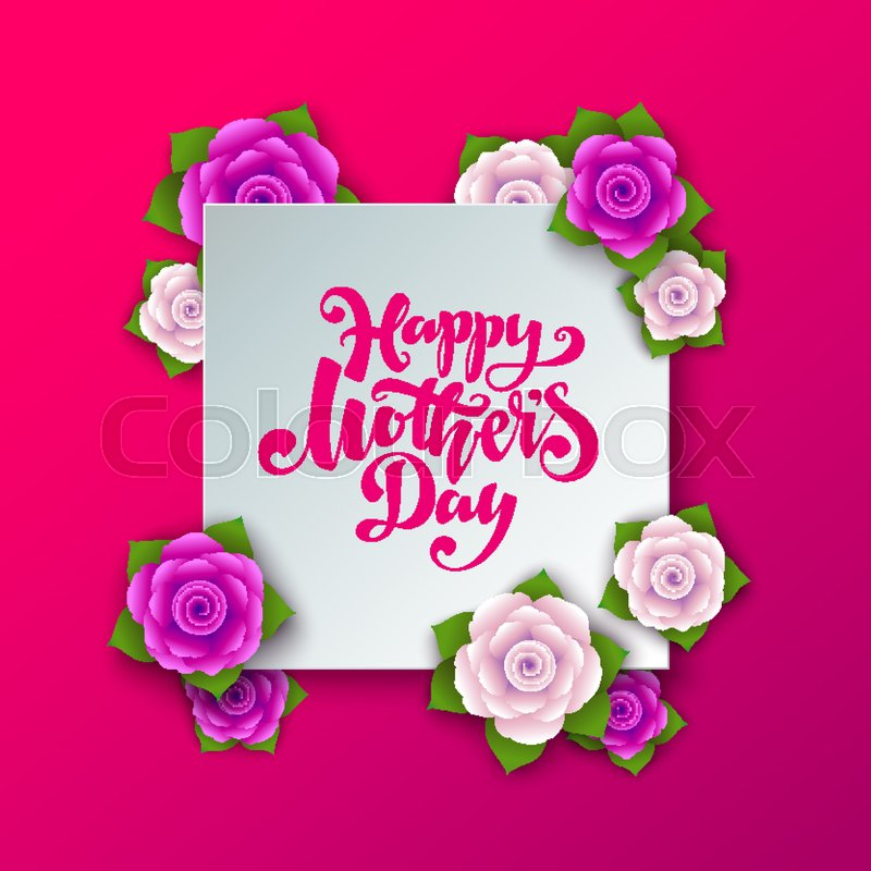 Lettering happy mothers day beautiful greeting card bright vector lettering happy mothers day beautiful greeting card bright vector illustration with flowers stock vector colourbox m4hsunfo
