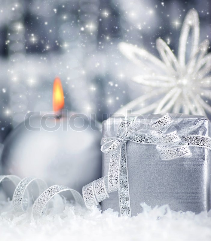Winter Holiday Background With Silver Present Gift Box
