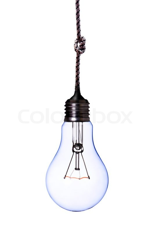 Lamp Bulb With Cord On White With Clipping Path Stock
