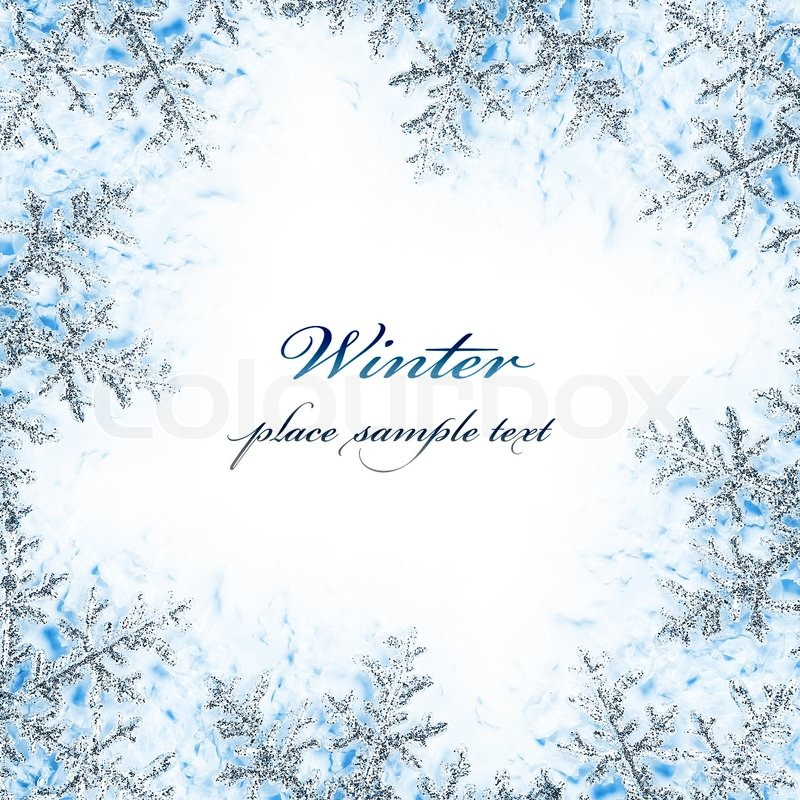 Snowflake decorative frame, beautiful blue cold frozen snow ...