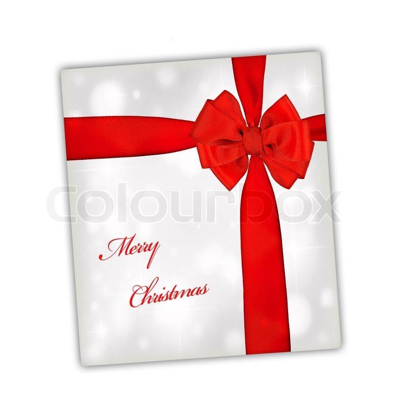 gru karte der frohen weihnachten mit rotem band gro e seidenschleife ber silber papier. Black Bedroom Furniture Sets. Home Design Ideas