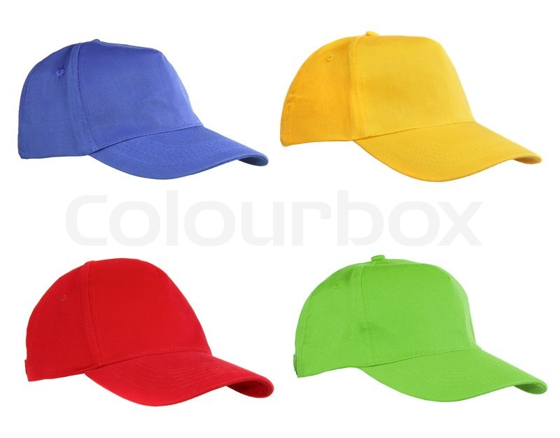 four caps isolated on white blue yellow red and green stock photo colourbox. Black Bedroom Furniture Sets. Home Design Ideas