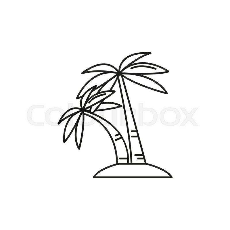 Palm Tree Outline Icon Singapore Symbol Isolated On White