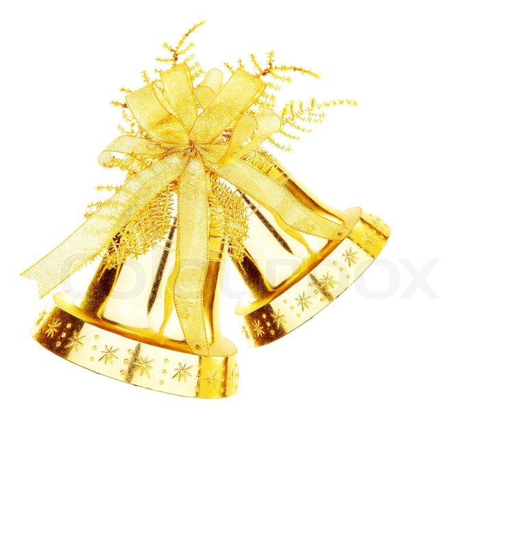 golden jingle bell christmas tree ornament and holiday decoration isolated on white background stock photo colourbox - Christmas Tree Bell Decoration
